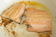Grilled salmon. Salmon fillet grilled with lemon Royalty Free Stock Photo
