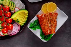 Grilled salmon fillet with lemon and herb. Vegetables mix royalty free stock images