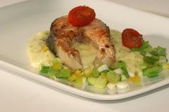 Grilled salmon fillet on mashed potato Stock Image