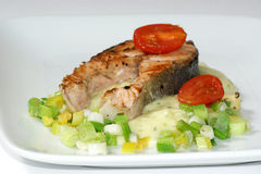 Grilled salmon fillet on mashed potato Stock Images