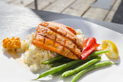 Grilled Salmon Fillet Over Basmati Rice Royalty Free Stock Photography