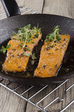 Grilled salmon fillet in a pan Stock Photo