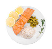 Grilled salmon fillet with risotto. Royalty Free Stock Photography