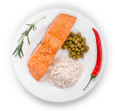 Grilled salmon fillet with risotto. Royalty Free Stock Photo