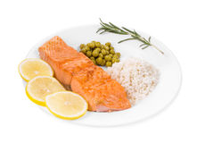 Grilled salmon fillet with risotto. Stock Photography