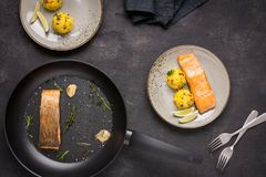 Grilled Salmon Fillet with Saffron Risotto. On Dark Background royalty free stock image
