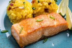 Grilled Salmon Fillet with Saffron Risotto. On Dark Background royalty free stock photo