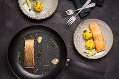 Grilled Salmon Fillet with Saffron Risotto. On Dark Background royalty free stock photos