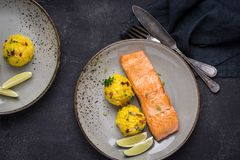 Grilled Salmon Fillet with Saffron Risotto. On Dark Background stock photography