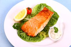 Grilled salmon fillet with salad, tomato and sauce Royalty Free Stock Photos