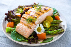 Grilled Salmon fillet. With vegetables stock images