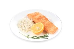 Grilled salmon fillet with vegetables. Isolated on a white background Stock Photography