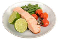 Grilled Salmon Fillet with Vegetables Stock Images