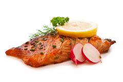 Grilled salmon fillet. Royalty Free Stock Photo