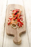 Grilled salmon fillet on wooden board Royalty Free Stock Photos