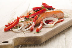 Grilled salmon fillet on wooden board Stock Photo