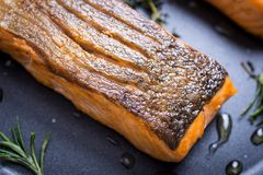 Grilled Salmon Fillets in Frying Pan royalty free stock images