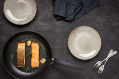 Grilled Salmon Fillets in Frying Pan stock photography