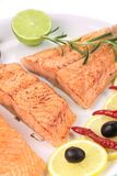 Grilled salmon fillets with rosemary. Royalty Free Stock Image
