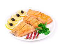 Grilled salmon fillets with rosemary. Royalty Free Stock Photo