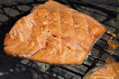 Grilled salmon fish fillet barbecue grill cooking Royalty Free Stock Image