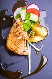 Grilled salmon fish fillet with fresh tomatoes, radish, cucumbers on a plate Royalty Free Stock Photography