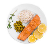 Grilled salmon fish fillet. Stock Photo