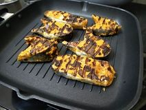 Grilled salmon fish. With chars on them royalty free stock images
