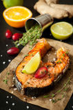 Grilled salmon fish Stock Images