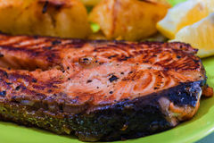 Grilled Salmon Fish meat Royalty Free Stock Images