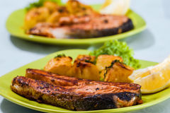 Grilled Salmon Fish meat Royalty Free Stock Photography