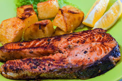 Grilled Salmon Fish meat Stock Photo