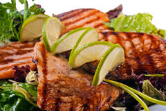 Grilled salmon fish steak Stock Image