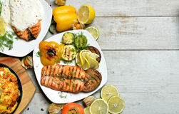 Grilled salmon Fish steak Fillet with BBQ Vegetables meat pie an Royalty Free Stock Photos