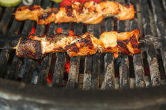 Grilled salmon. On the flaming grill royalty free stock image