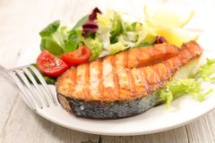 Grilled salmon. And fresh salad Stock Photo
