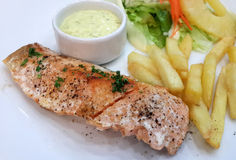 Grilled Salmon with Fresh Salad Stock Images