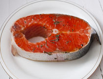 Grilled Salmon. Fresh salmon steak with herbs Royalty Free Stock Image