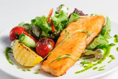 Grilled salmon and vegetables Stock Photos