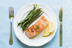 Grilled Salmon with Green Beans Royalty Free Stock Image