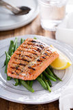 Grilled salmon with green beans Stock Image