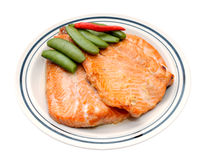 Grilled salmon and green been Royalty Free Stock Photo