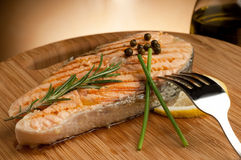 Grilled salmon with green pepper Stock Photos