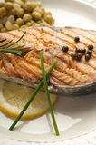 Grilled  salmon with green pepper Stock Images