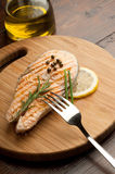 Grilled  salmon with green pepper Royalty Free Stock Photography