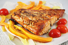 Grilled Salmon with herbs Royalty Free Stock Images