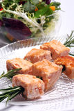Grilled salmon kebabs Royalty Free Stock Images