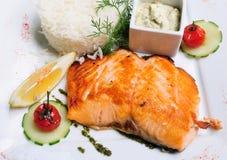 Grilled salmon and lemon stock photos