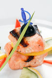 Grilled salmon with lemon Royalty Free Stock Image