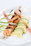 Grilled salmon with lemon Stock Photography